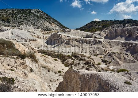 Rocky ravines in the mountains on the island of Lefkada