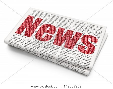 News concept: Pixelated red text News on Newspaper background, 3D rendering