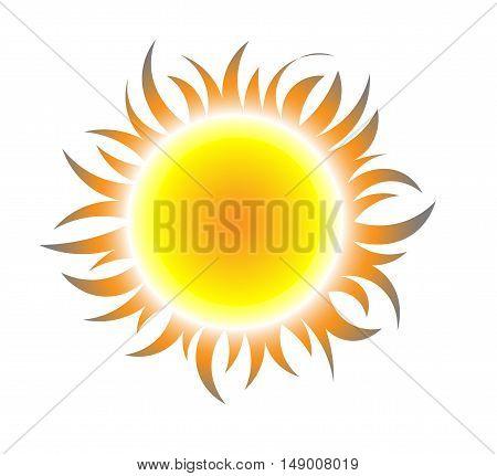 sun symbol, icon, emblem. Sun rays. vector illustration.