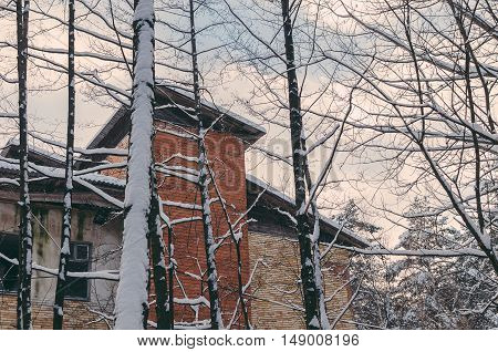 Old abandoned house in winter forest park