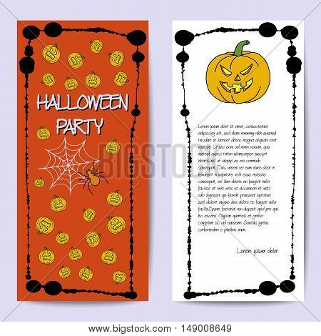 Stock Vector Cards Template For Halloween Party. Hand Drawing Pumpkin, Spider, Web. Splatter Frame.
