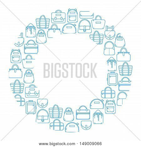 Single color fashion bag line icons as a round frame, vector illustration isolated on white background. Round frame made of thin line fashion bag icons