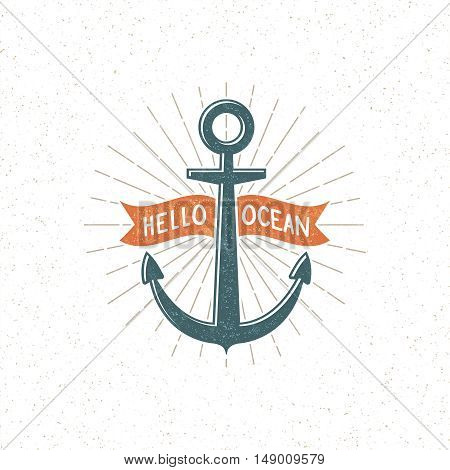 Vintage logo with anchor and ribbon. Grunge texture and background on separate layers. Vector illustration.