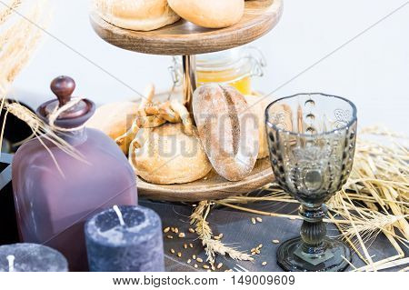 Bread Glass Candle And Spikelet