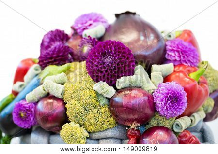 Seasonal Flower And Vegetables Bouquet