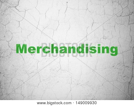 Advertising concept: Green Merchandising on textured concrete wall background