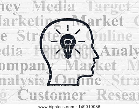 Marketing concept: Painted black Head With Lightbulb icon on White Brick wall background with  Tag Cloud