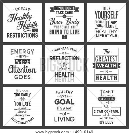 Health Typography quotes set. Grunge effect can be edited or removed. Vector EPS10 illustration.
