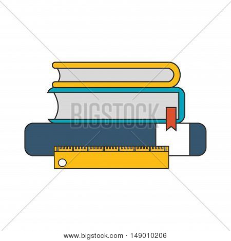 flat design books and ruler  icon vector illustration