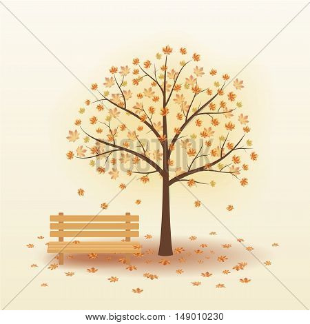 Bench under autumn tree with falling yellow leaves. Vector illustration on a beige background.