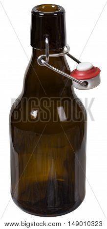 Empty glass bottle with the open cap hold with metal wire isolated over the white background. Clipping path included. The image is in full focus front to back.
