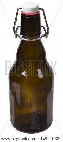 Empty glass bottle with the closed cap hold with metal wire isolated over the white background. Clipping path included. The image is in full focus front to back.