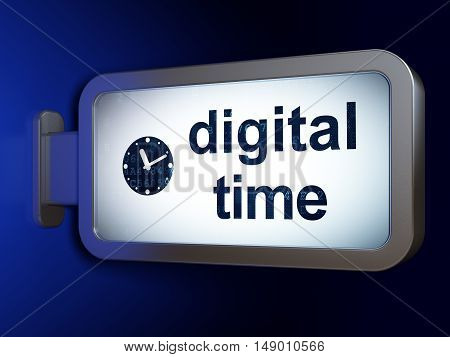 Time concept: Digital Time and Clock on advertising billboard background, 3D rendering