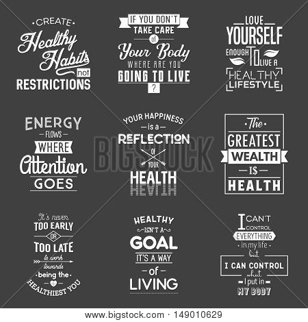 Health Typography quotes set. Vector EPS8 illustration.