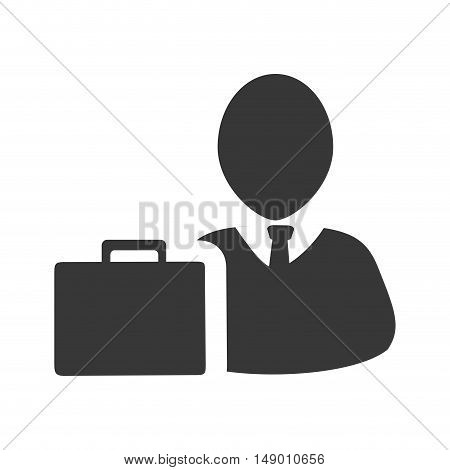 avatar man person social user with executive briefcase icon silhouette. vector illustration