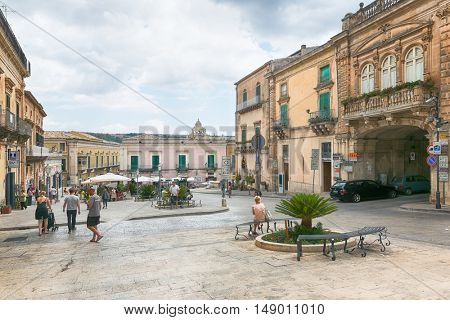 Ragusa, Sicily, July 26, 2016 view of the square in the center of Ragusa, Sicily, Italy