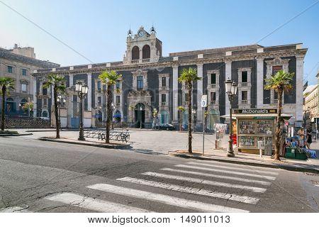 Catania, Sicily, Italy JUL 25, 2016: Historic building on the square Stesicoro in Catania, Sicily, Italy