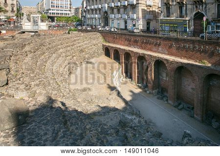 Catania, Italy - JUL 25, 2016: Remains of the Roman amphitheater at the Piazza Stesicoro (Stesicoro square), Catania,Italy
