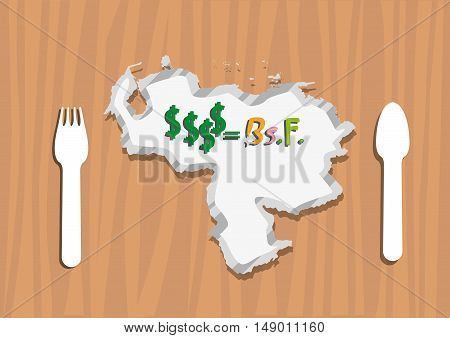 Venezuela Map as an Economic plate symbol with Dollars to Venezuelan currency called bolivar fuerte. Editable Clip Art.