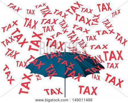 Raining tax 3D umbrella rain protection taxation