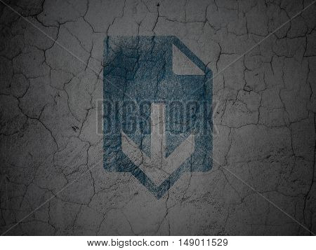 Web design concept: Blue Download on grunge textured concrete wall background