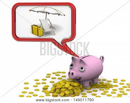 Plastic pipe with tap. Pig piggy bank dreaming about vacation. Isolated. 3D Illustration