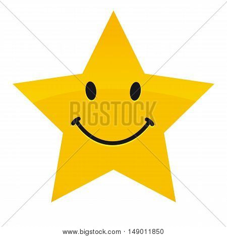 Yellow happy vector star with smile. Smile star