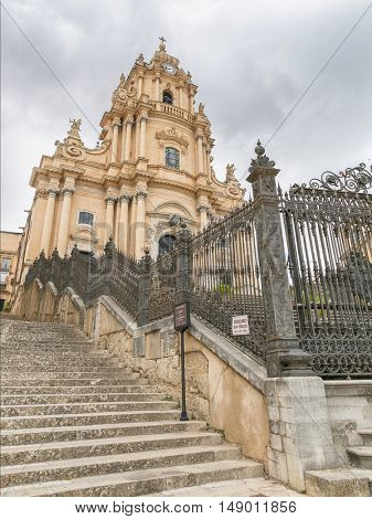 Ragusa, Sicily, July 26, 2016 view of a beautiful church of St George (Duomo Di San Giorgio) in Ragusa, Sicily
