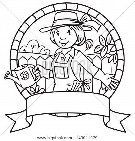 Coloring Book Of Funny Woman Gardener. Emblem.