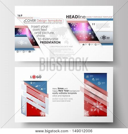 Business templates in HD format for presentation slides. Easy editable abstract layouts in flat design. Christmas decoration, vector background with shiny snowflakes.