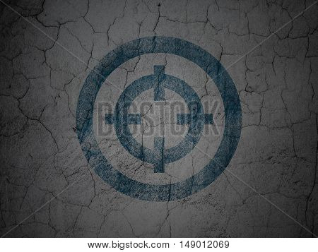 Business concept: Blue Target on grunge textured concrete wall background