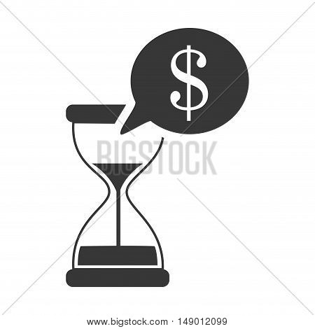 hourglass or sandclock with speech bubble with money sign icon silhouette. vector illustration