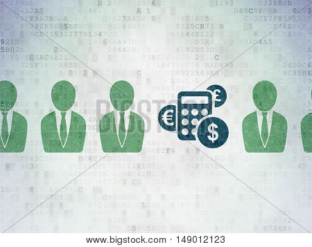 Finance concept: row of Painted green business man icons around blue calculator icon on Digital Data Paper background