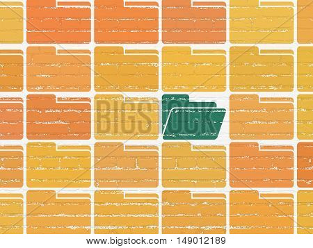 Finance concept: rows of Painted orange folder icons around green folder icon on White Brick wall background