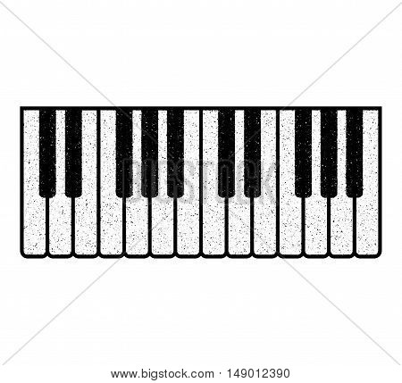 Part of the piano keyboard. Stylized splashed piano keyboard. Vector illustration.