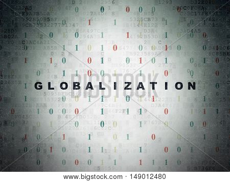 Finance concept: Painted black text Globalization on Digital Data Paper background with Binary Code