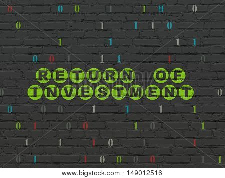 Finance concept: Painted green text Return of Investment on Black Brick wall background with Binary Code