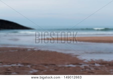 View Over Summerleaze Beach At Bude In Cornwall Out Of Focus.