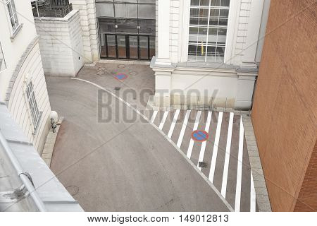 A High Angle View Of Narrow Empty Street In Vienna.