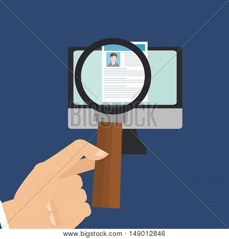 flat design person examining cv with magnifying glass business related icons image vector illustration