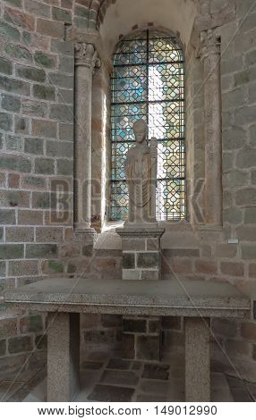 Mont Saint Michel France - September 8 2016 Benedictine Abbey of Mont Saint-Michel in Normandy France. Fragment of the interior of one of the rooms