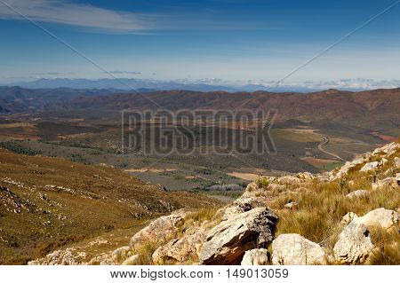 Mountain View With Farm Lands - The Swartberg Pass