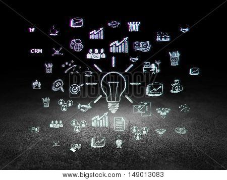 Business concept: Glowing Light Bulb icon in grunge dark room with Dirty Floor, black background with  Hand Drawn Business Icons
