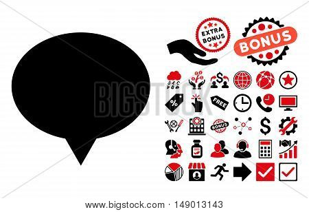 Banner icon with bonus design elements. Vector illustration style is flat iconic bicolor symbols intensive red and black colors white background.