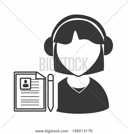 avatar woman online support call center with document page icon silhouette. vector illustration