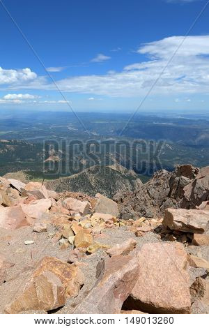 View from Pikes Peak in the Mountain of Colorado