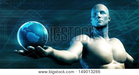 Worldwide Technology and Mass Adoption of New Technologies 3D Illustration Render