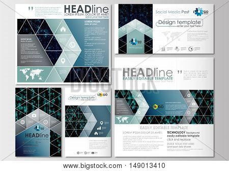 Social media posts set. Business templates. Cover design template, easy editable, abstract flat layouts in popular formats. Virtual reality, color code streams glowing on screen, abstract technology background with symbols.