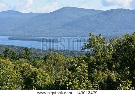 View of Lake George from Prospect Mountain, in New York.