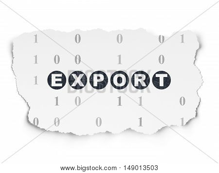 Finance concept: Painted black text Export on Torn Paper background with  Binary Code